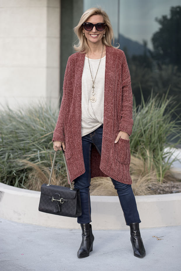 sienna long chenille cardigan styled with oatmeal Modal side twist top