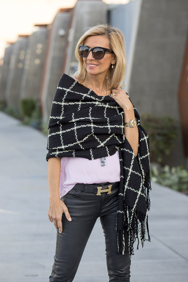 black and ivory plaid wrap shawl