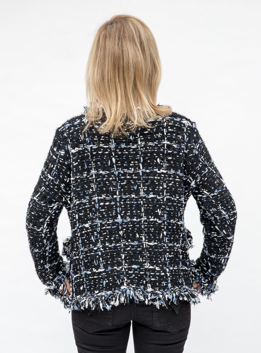 Black and blue boucle knit cardigan jacket for women