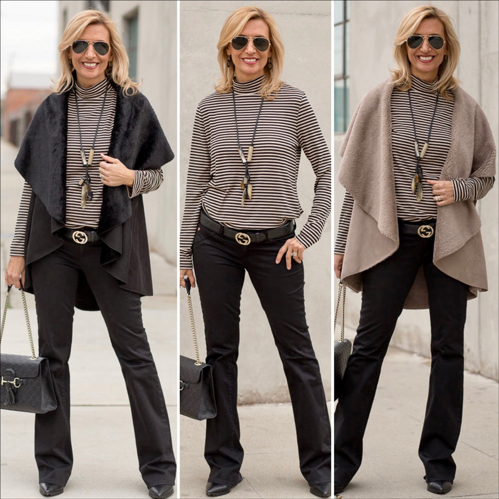 Black And Taupe Faux Sued Cape Vest Combo styled with mock neck top