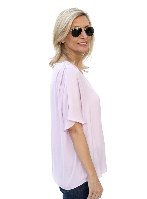 Lilac V Neck Blouse With Shoulder Pleats