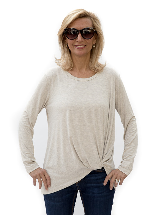 Womens Oatmeal Round Neck Side Twist Top