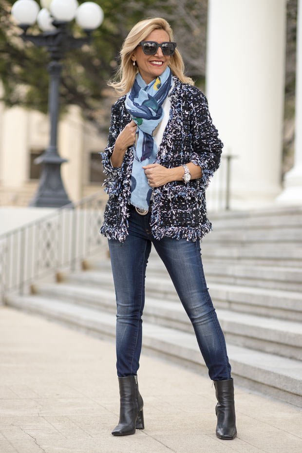 womens black and blue boucle knit cardigan jacket with scarf