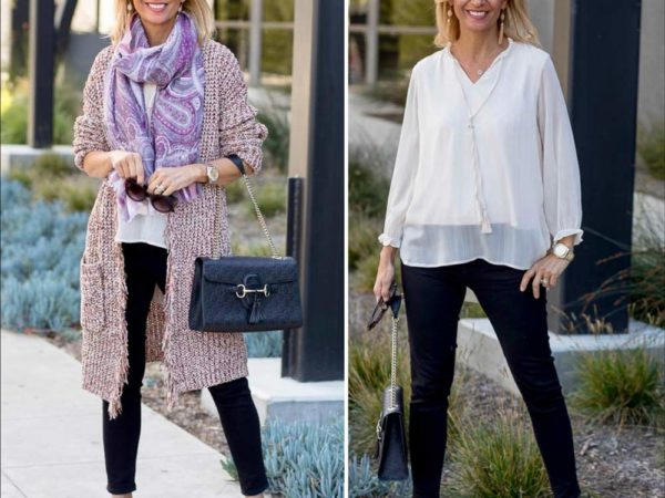Chenille Multi Colored Yarn Long Cardigan with fringe styled for a casual look