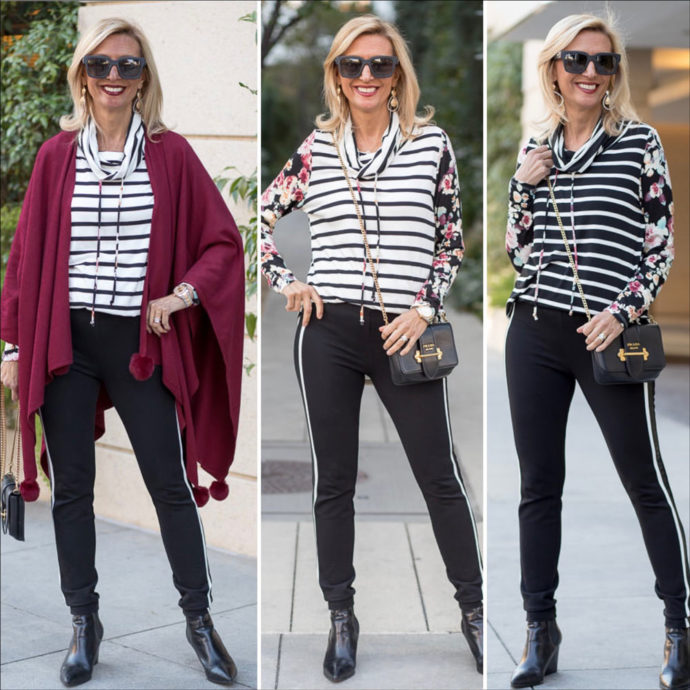 Burgandy Poncho styled with a floral stripe cowl neck tops