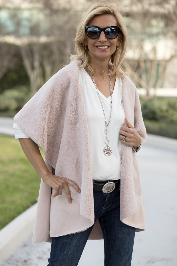 Blush Faux Suede and shearling cape vest for womenBlush Faux Suede and shearling cape vest for women