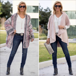 womens black gray and pink cardigan styled with a blush faux suede cape vest