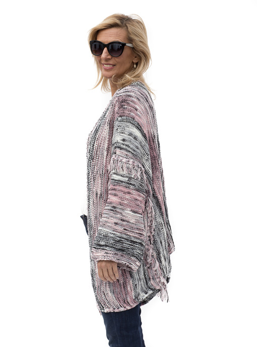 Pink Gray Black Cardigan With Fringe Detail