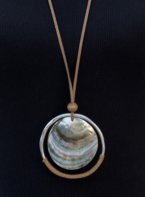 Tan Faux Leather String Necklace With Abalone Shell Pendant