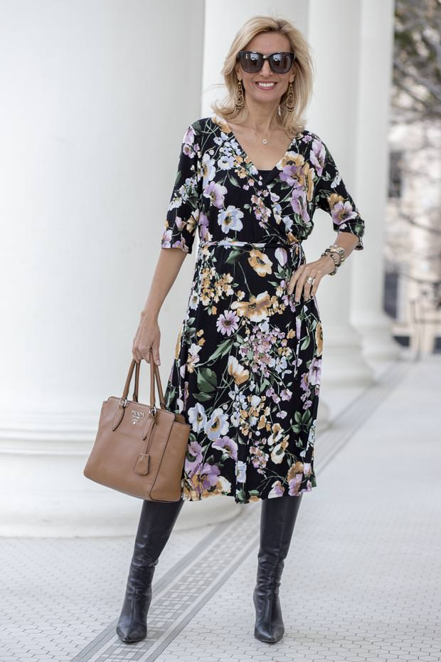This Black Floral Print Jersey Faux wrap dress is stunning