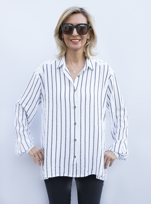 Black White Stripe Shirt With Eyelet Lace Yoke