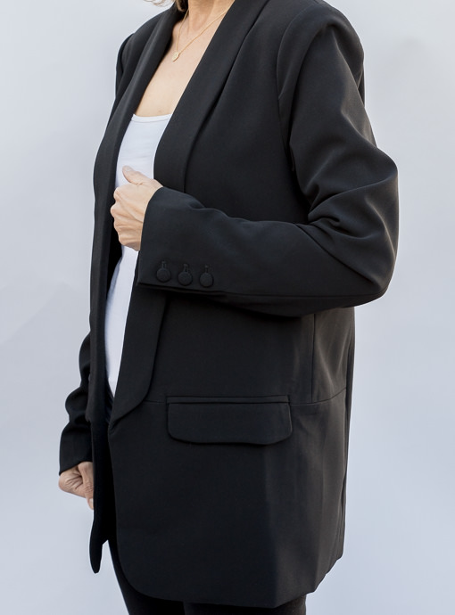 Black Shawl Collar Open Front Blazer