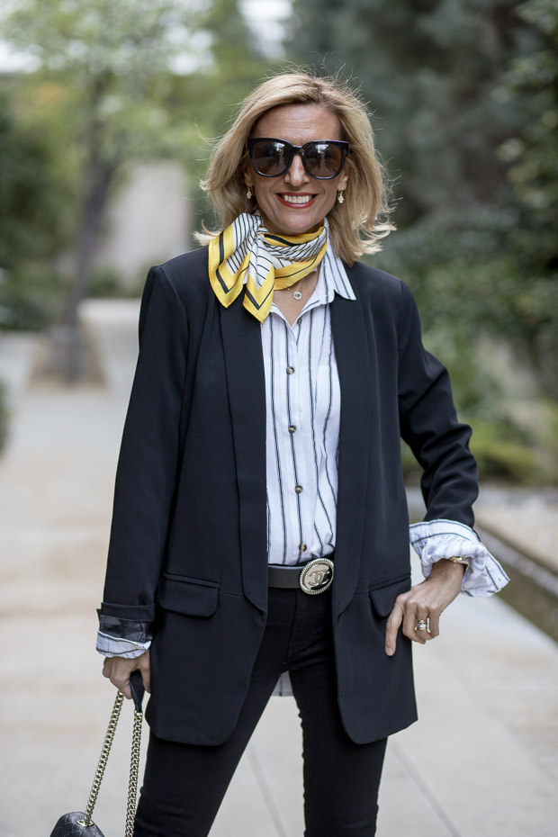 Black Shawl Collar Blazer With Black and WHite stripe blouse and yellow silk scarf