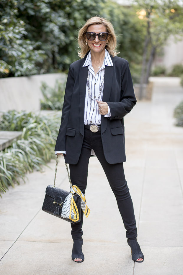 Black Shawl Collar Blazer With Black and White stripe blouse