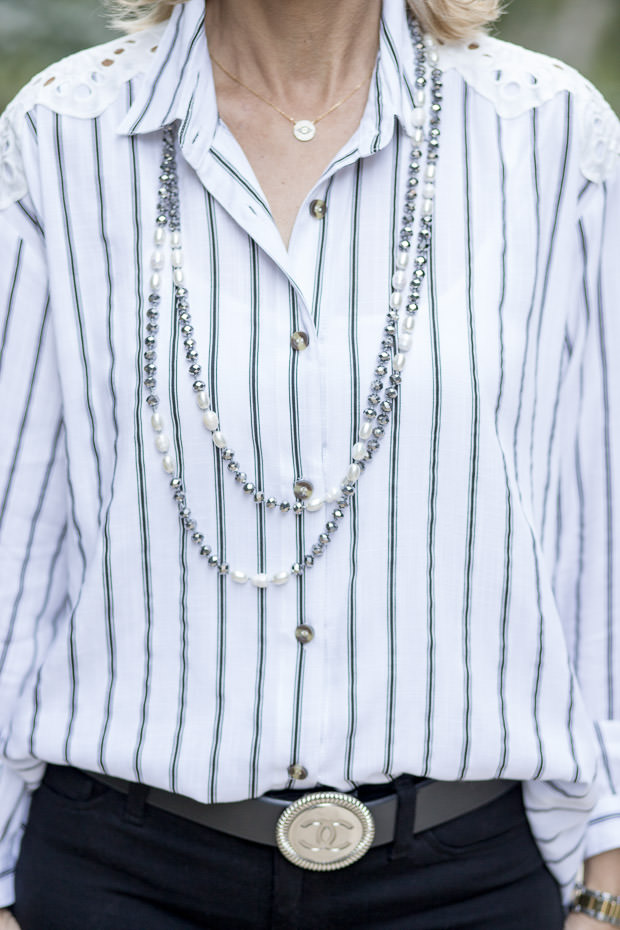pearl and gray iridescent bead necklace for women