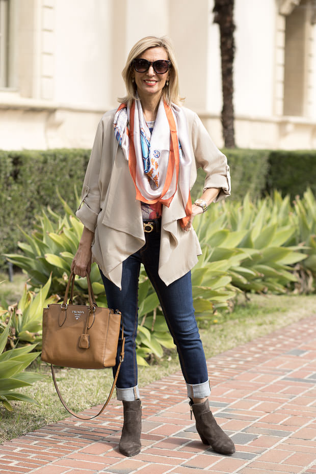 Tan-Cascading-Collar-Casual-Jacket-for-women and silk scarf