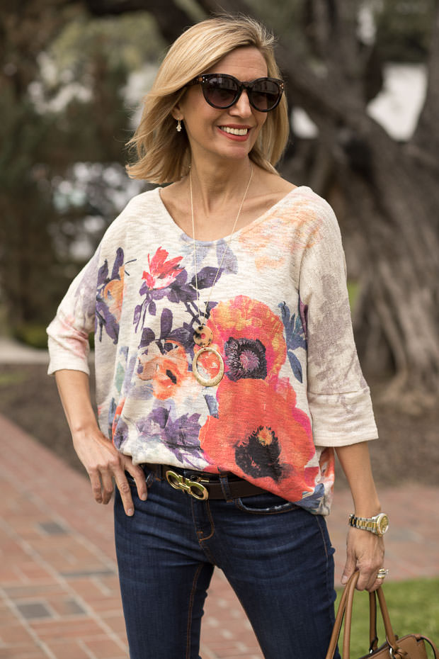floral print dolman sleeve top for women