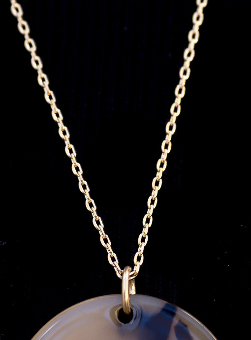 Gold Tone Chain Necklace With Tortoise And Gold Ring