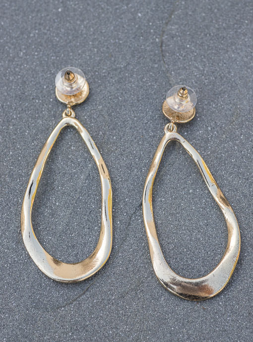 Gold Tone Oval Shape Hoop Earrings
