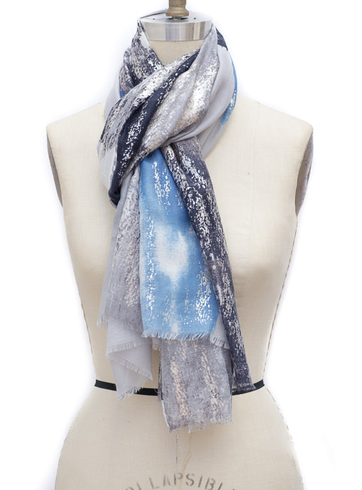 Gray Navy Blue Silver Abstract Print Scarf Shawl