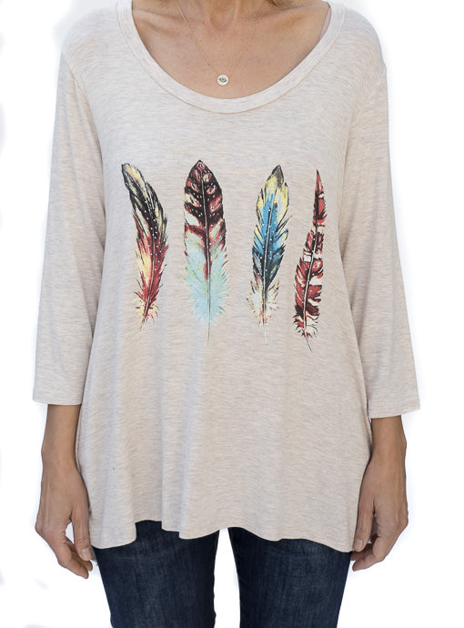 Oatmeal Multi Color Feather Print Graphic Top