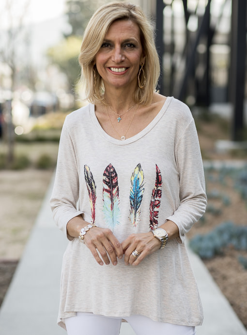 Heather Tan Multi Color Feather Print Graphic Top