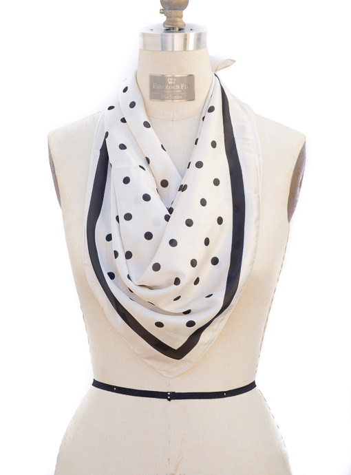 Square Neck Tie Scarf Ivory with Black Polka Dot