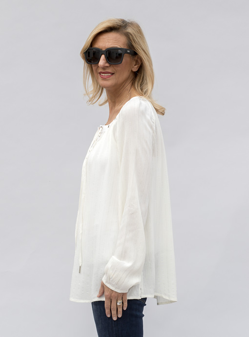Ivory Lace Front Blouse for women
