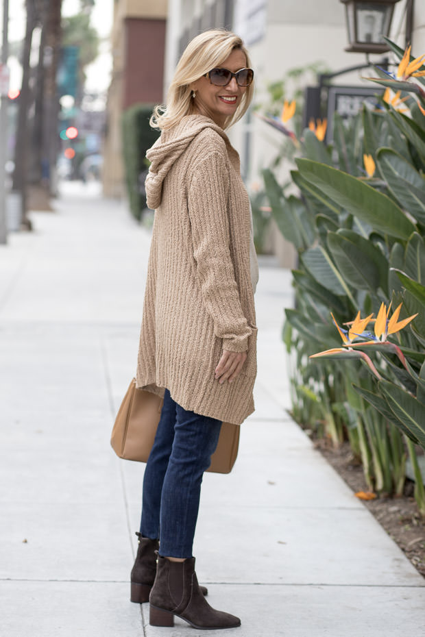 Womens Camel Jute knit Hooded Cardigan