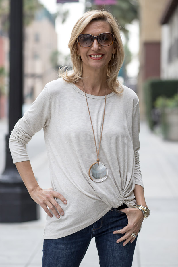 oatmeal round neck side twist top for women