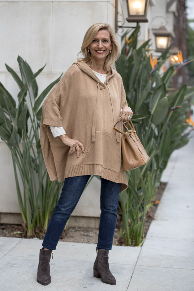 Womens Camel Hooded Knit Poncho