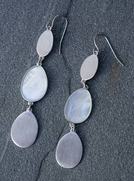 Matte Silver And Shell Drop Earrings