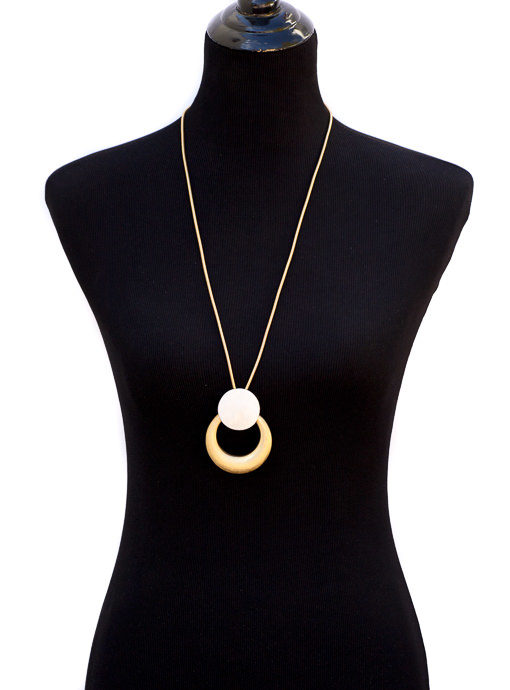 Matte Gold Chain Necklace With Matte Gold And Silver Pendant
