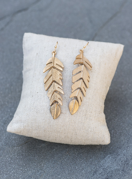 Matte Gold Leaf Earrings