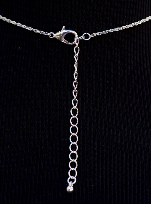 Matte Silver Chain With Matte Silver And Shell Pendant