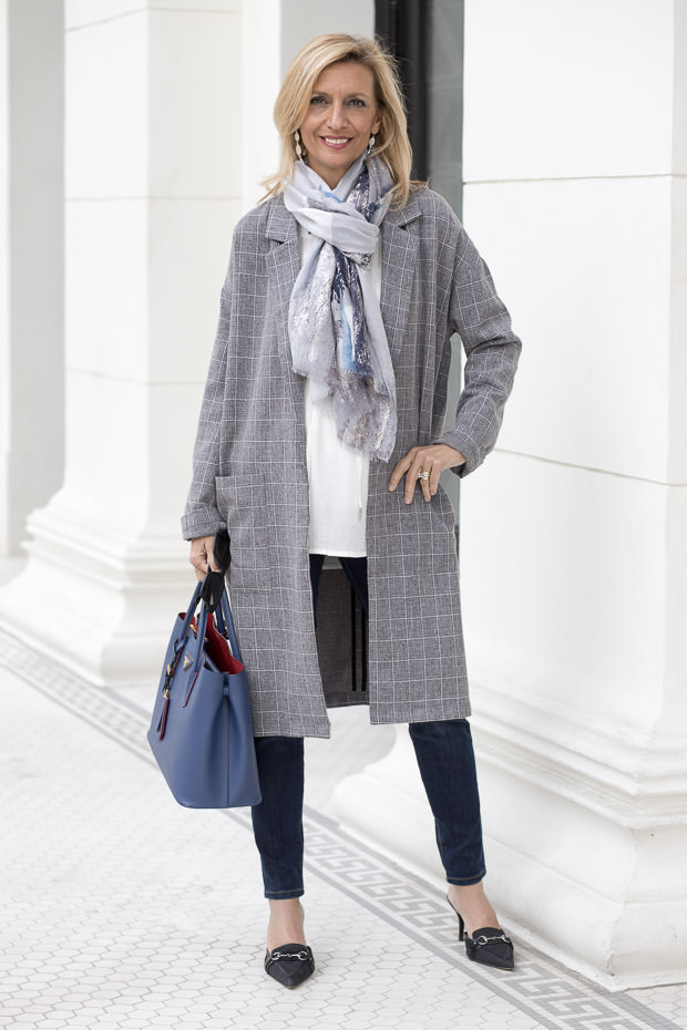 Womens Gray Plaid Over sized Duster Coat