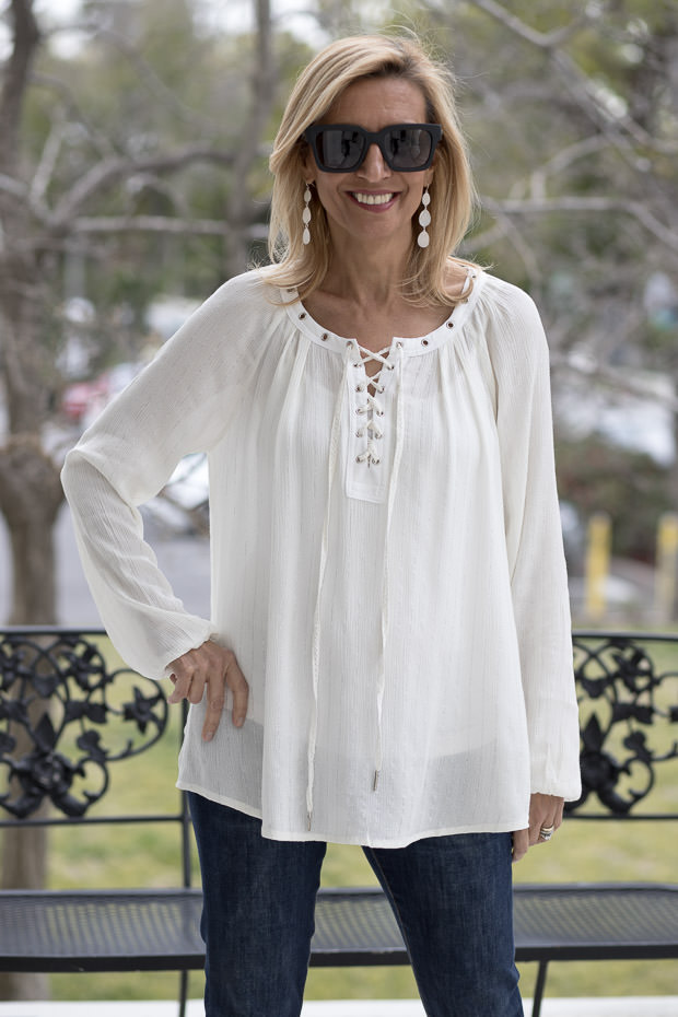 Ivory Lace up Blouse with Metallic Stripe
