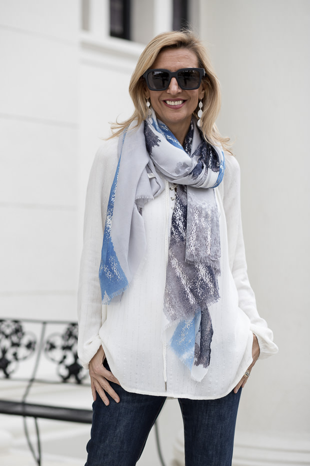 Ivory Lace up Blouse with Metallic Stripe and scarf