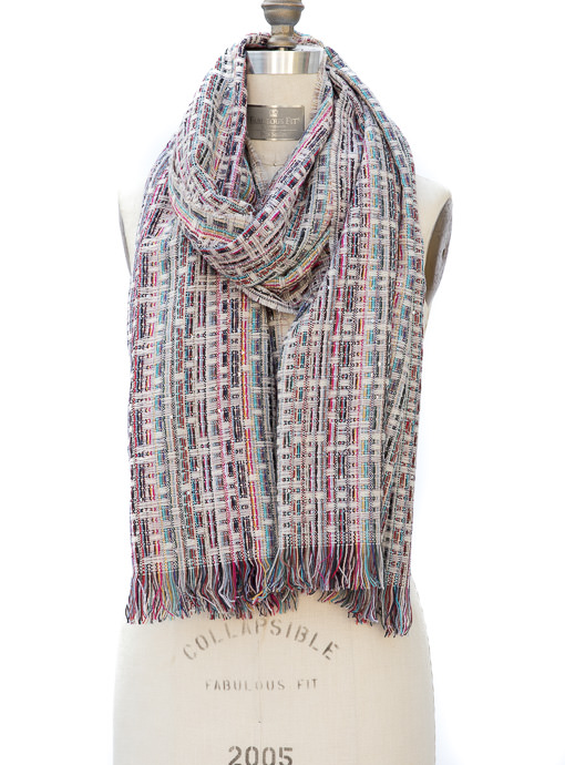 Multi Color Novelty Yarn Shawl Wrap With Fringe