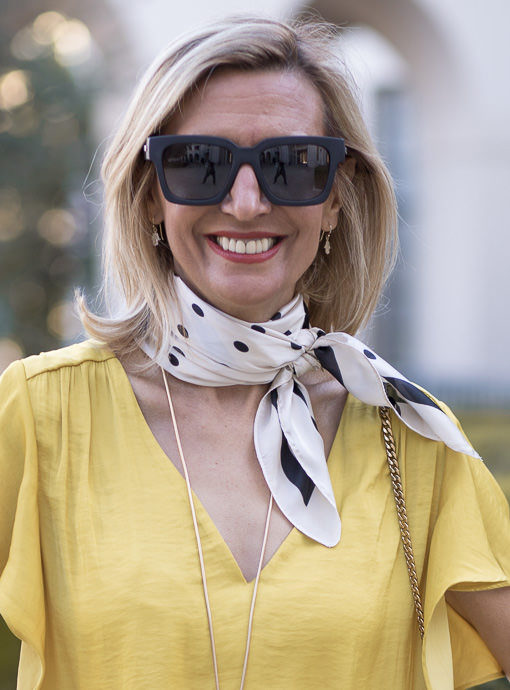 Ivory And Black Polka Dot Square Scarf