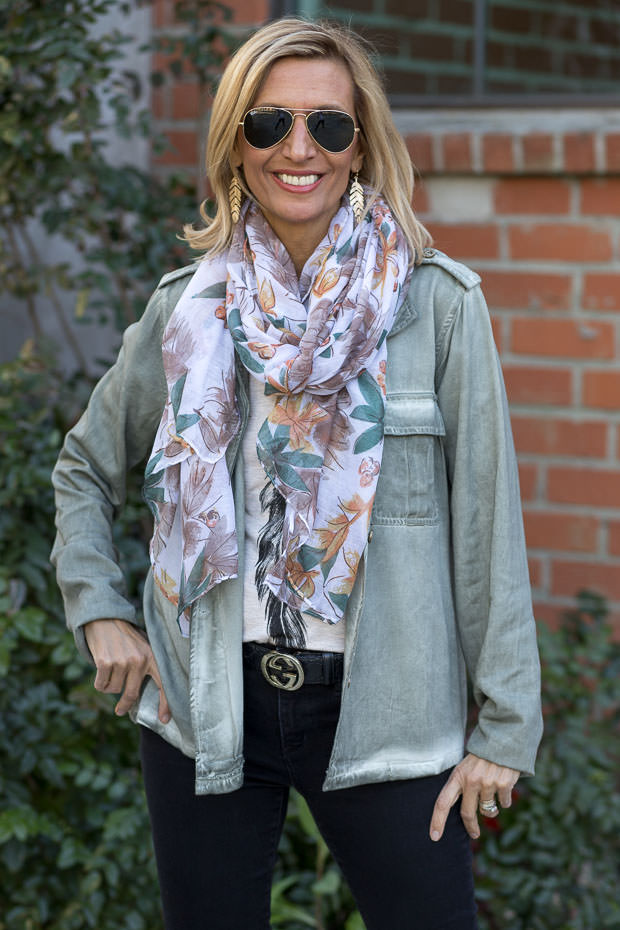 Sage Stone washed jacket with a teal leaf print shawl scarf for women