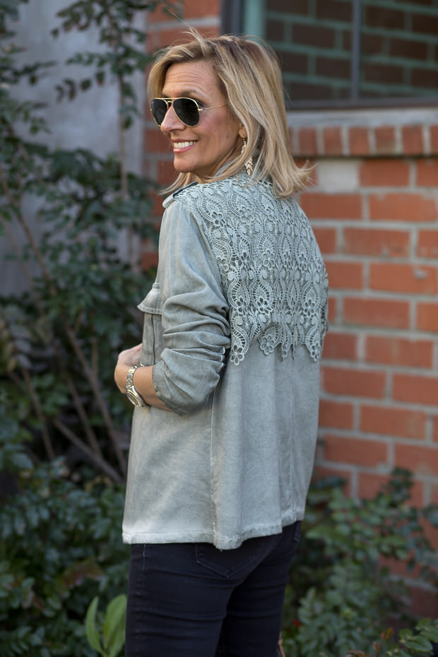 Sage Stone washed jacket for women with lace back yoke