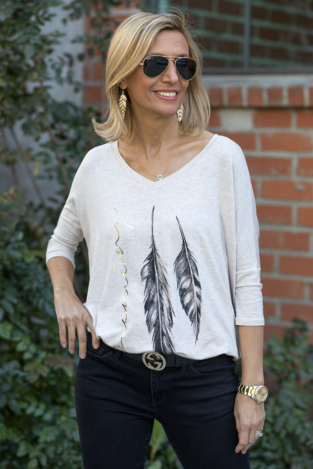 Oatmeal Graphic Print Top With Feathers