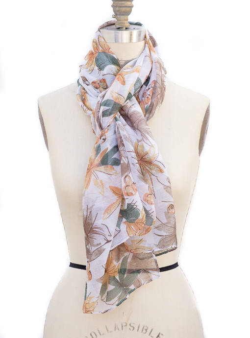 Teal Rust and Mocah Leaf Print Scarf Shawl For Women