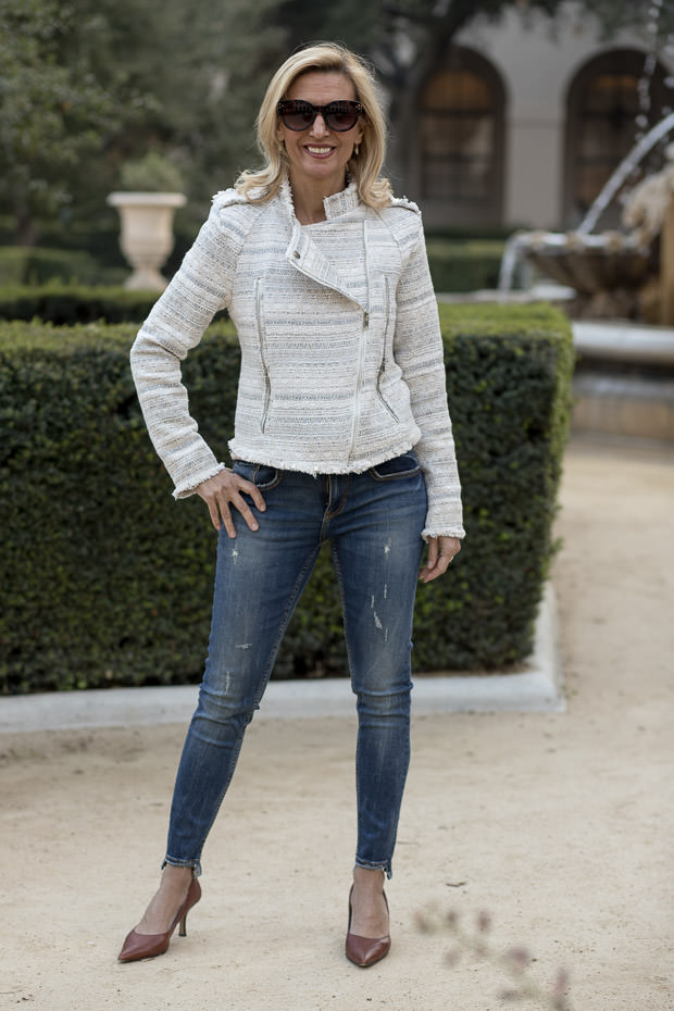 Womens stylish Ivory Boucle Moto Jacket