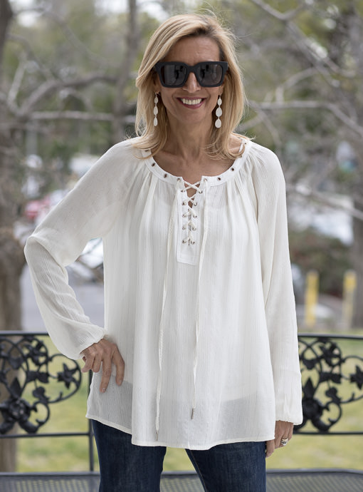 Ivory Lace Up Blouse With Metallic Silver Stripes