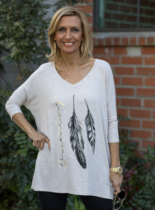 Heather Tan Oversized Feather Print Graphic Top
