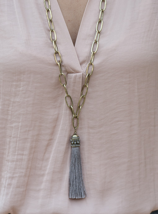 Antique Gold Big Chain Necklace With Gray Tassel