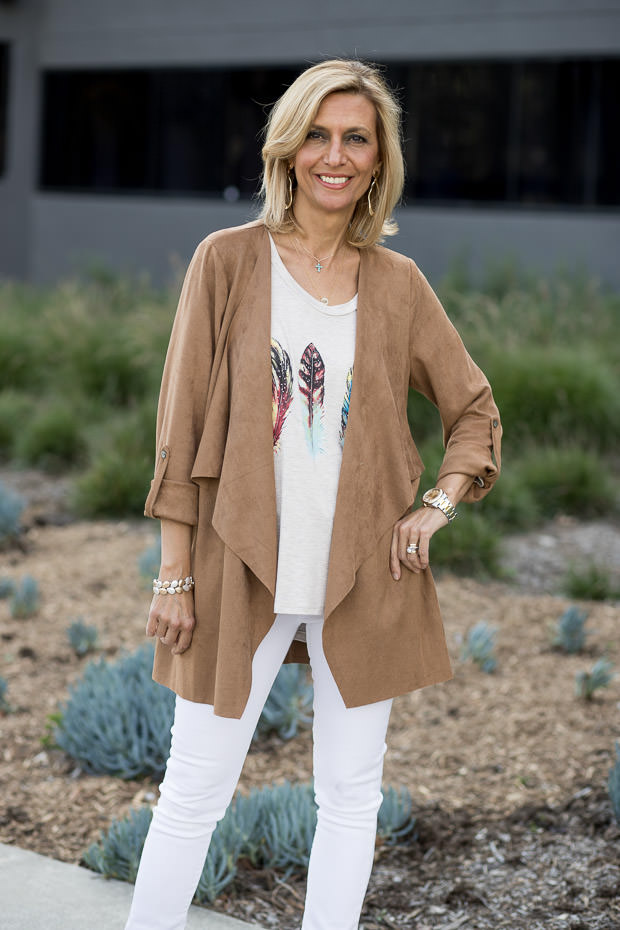 A Southwestern Inspired Look For Women with Camel white and turquoise