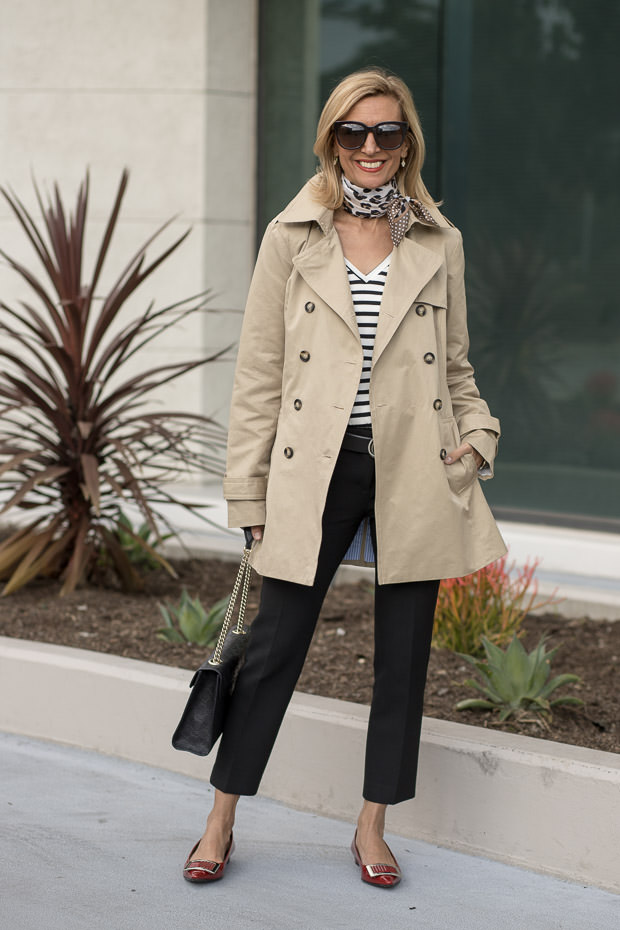 a classic Womens Trench Coat with Belt Mixed with Stripes dots and leopard